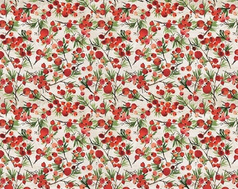 Free Spirit Christmastime Winter Berries Red (PWTH164.RED) 1/2 yard Increments