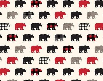 Riley Blake Designs Wild at Heart Bears Cream (C9821-CREAM) 1/2 Yard Increments