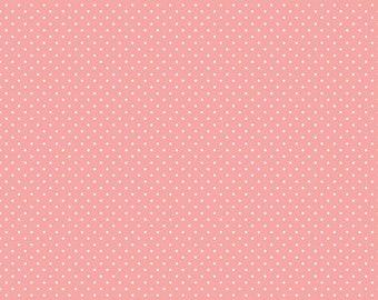 Riley Blake Designs White Swiss Dot on Coral (C670-CORAL)