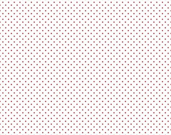 Red Swiss Dot on White (C660-80 RED) 1/2 Yard Increments