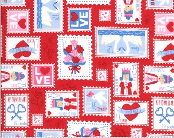 Moda Be Mine Love Stamp Kisses (20712 14) 1/2 Yard Increments