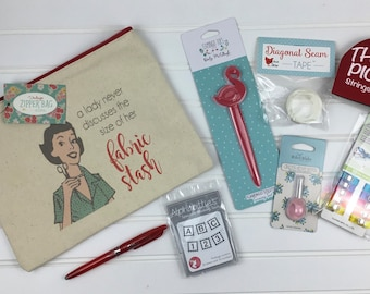 Quilter's Gift Bag*Bag Of Notions*Quilter's Gift*Quilting Notions*Seam Tape*Seam Ripper*Alphabitties*Wonder Clips*Notion Gift Bag*Gift Bags*