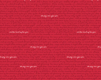 Riley Blake Designs Land of Liberty Text Red (C10566-RED) 1/2 Yard Increments