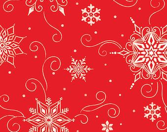 Riley Blake Designs Wide Back Snowed In Red (WB10819-RED) 1/2 Yard Increments