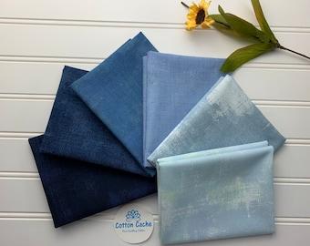 Moda Grunge Blue FQ Bundle*Moda Grunge*Assorted Blue FQ Bundle*Stash Builder*Grunge Blue*Navy*Light Blue*Medium Blue*Ombre Blue Bundle*Blue*