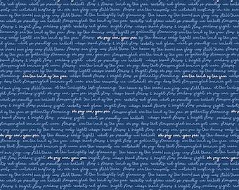 Riley Blake Designs Land of Liberty Text Navy (C10566-NAVY) 1/2 Yard Increments