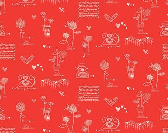 Riley Blake Designs From The Heart Main Red (C10050-RED)1/2 Yard Increments