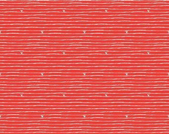 Riley Blake Designs From The Heart Stripe Red (C10054-RED) 1/2 Yard Increments