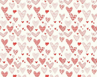 Riley Blake Designs From The Heart Hearts Cream (C10051-CREAM) 1/2 Yard Increments