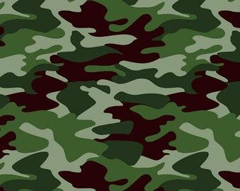 Riley Blake Designs Nobody Fights Alone Camo Green (C10420-GREEN)