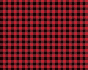 Riley Blake Designs Wild at Heart Buffalo Plaid Red (C9827-RED) 1/2 Yard Increments