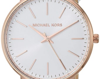 69c5984d0 Michael Kors Women's Pyper Stainless Steel Quartz Watch with Leather Strap,  White, 18 (Model: MK2800)