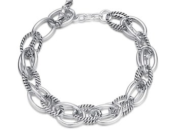 b9ff963c9 UNY Bracelet Designer Brand Inspired Antique Women Jewelry Double Cable  Link Wire Vintage Valentine (Silver)