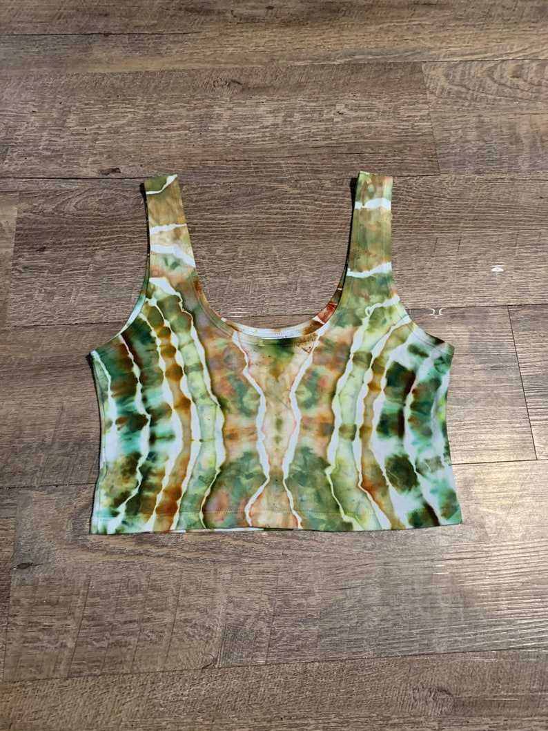 Jungle Cruise Made in America Ice Dyed Hippie Style Festival Clothes Tie Dye M Crop Top Earthy Tie Dye