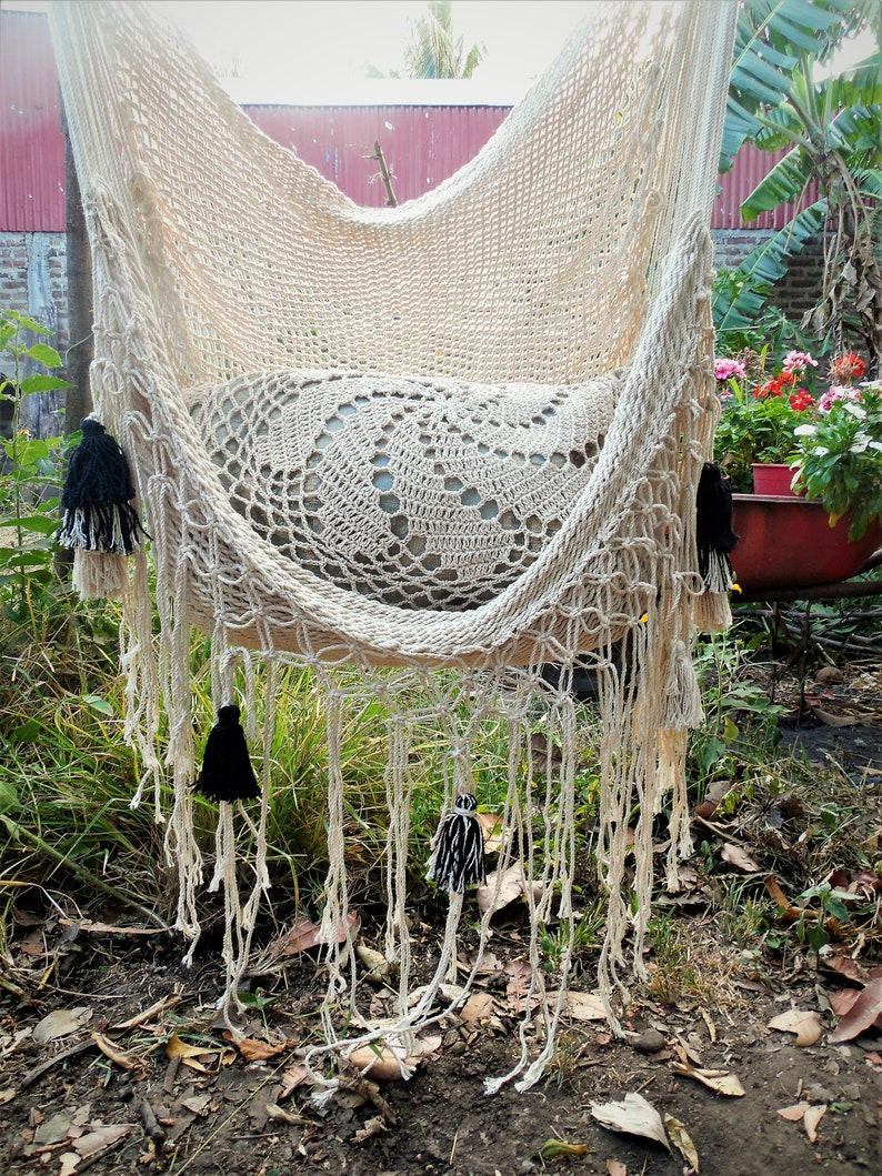 Hammock Chair 100% Handmade Natural Cotton With Black, Beige And Mixed  Tassels, Child Hanging Chair, Porch Chair Swing.