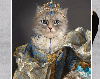 Royal Princess Custom Pet Portraits, Custom Royal Portrait, Blue and gold, 17th Century Neoclassical Custom Pet Portrait by JAnovelty