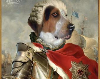 Historical portrait, King in Armour Portrait, Pet Portrait Painting, Medieval knight, Pet print, Custom dog Cat art Portrait by JAnovelty