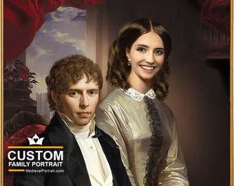 Victorian couple in a classical painting, Custom Family Portrait, Wedding portrait, Personalized family portrait by JAnovelty