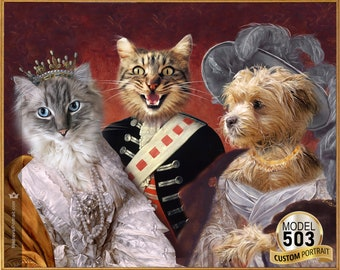 Royal family, Multi Characters canvas print, Regal Crown Imperial and majestic Victorian Era, Three Characters, Pet art print by JAnovelty