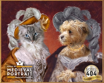 Best friends, Sisters, Royal women in classical painting, Victorian ladies with large hat, 2 Characters Custom Pet portrait by JAnovelty