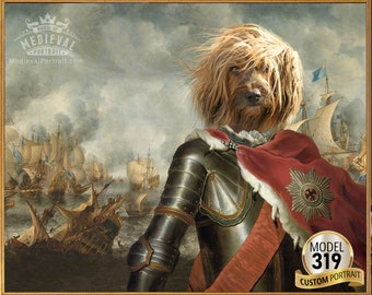 Your Cat or dog in Knight in armor, Warrior on the battlefield, Army Historical Portrait, Pet Portrait from Photo by JAnovelty