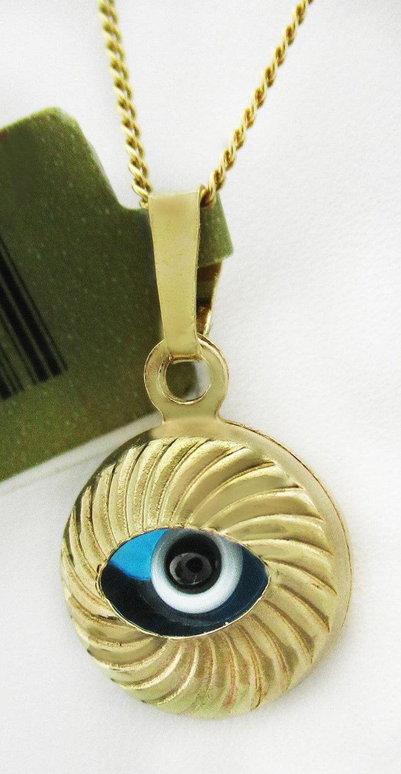 Evil Eye Pendant Necklace Yellow Gold 14K