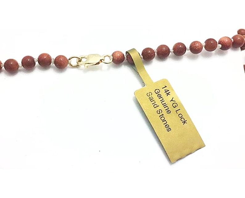 Genuine 34.34 Carats Sand gemstones Necklace 14K Gold