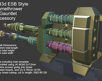 DIY ESB Style Flame Thrower Mandalorian Gauntlet Accessory 3D Printable Model