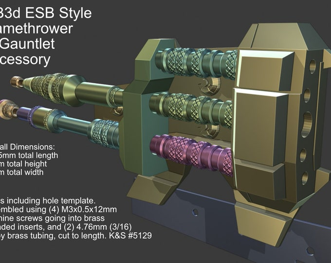 Featured listing image: Mandalorian 3D STL File ESB Style Flame Thrower Gauntlet Accessory Printable Model