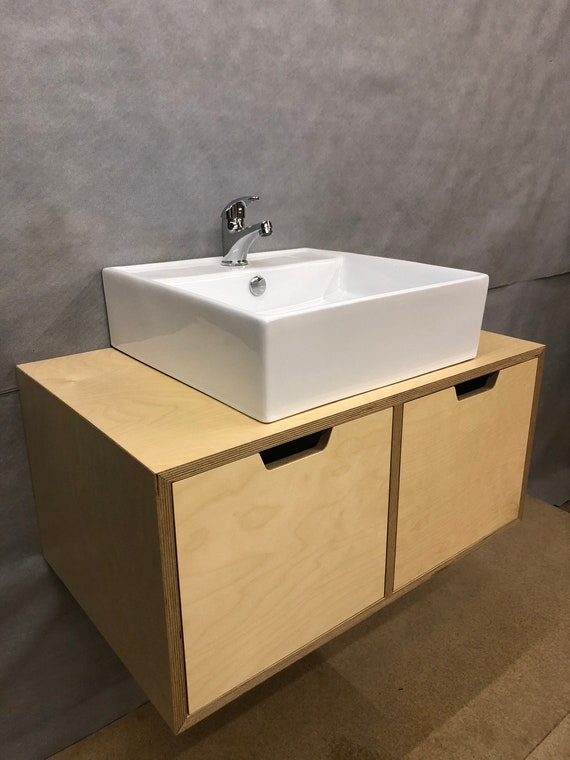 Wall Mounted Birch Plywood Bathroom Vanity Unit Floating Etsy