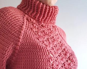 SWEATER ROMANTIC,PDF, Crochet Pattern, Patrón Ganchillo jersey, Motivo all'uncinetto, Padrão de crochê, Esquema, Scheme, Schema, Maglione.