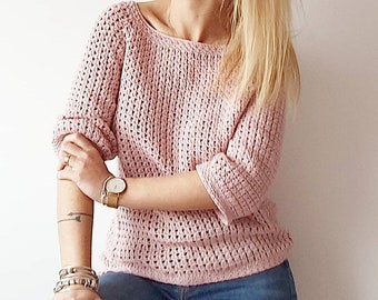 SWEATER BASIK, PDF, patron jersey ganchillo, crochet patten t-shirt, motivo all'uncinetto maglia, padrão de crochê. Esquema, Scheme, Schema.