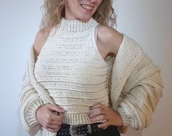 CONJUNTO PARALELA, PDF, Patron top y chaqueta ganchillo, Set croptop & cardigan crochet pattern, Set top e giacca motivo all'uncinetto,