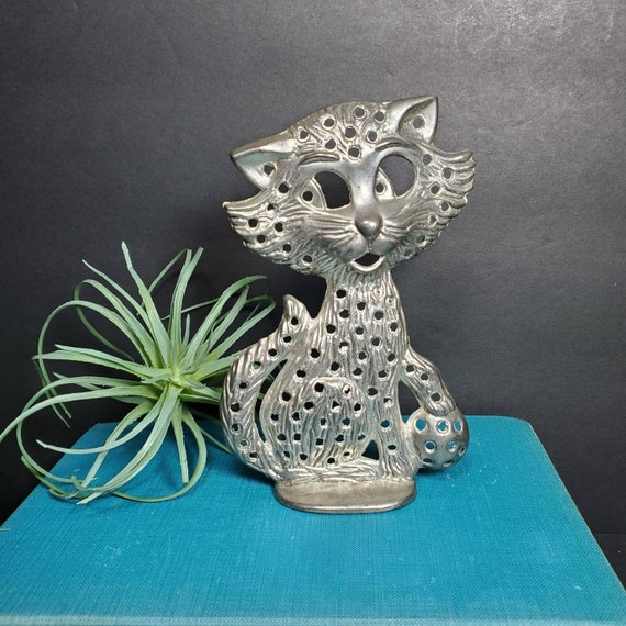 Kitschy Cat Ring Holder Silver Plate Vintage