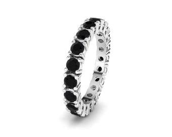 Genuine Black Spinel 925 Sterling Silver Full Eternity Stackable Band V Ring