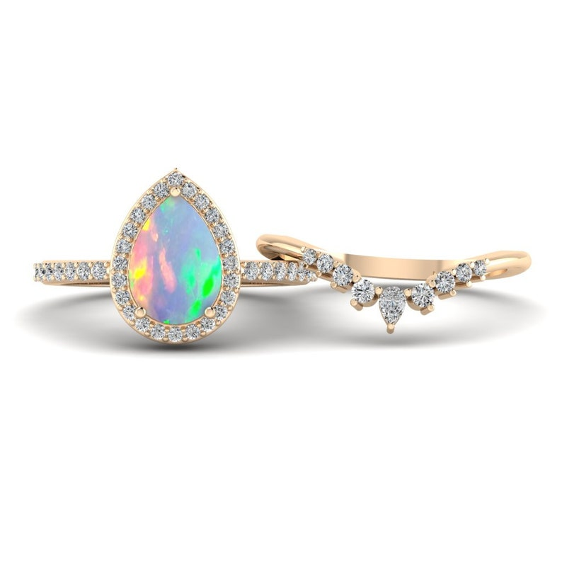 14k Beautiful Opal Engagement Ring Set Pear Opal Ring Silver Opal Wedding Ring Opal Bridal Set Rose Gold Art Deco Unique Opal Promise Ring