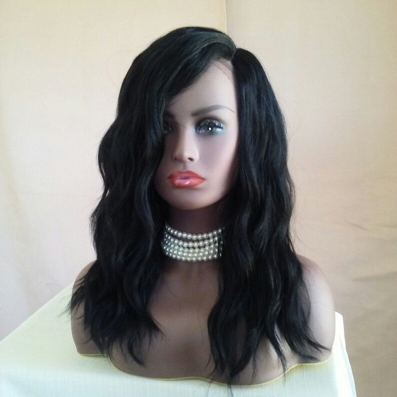 Wavy black wig-lace front wig-full wig-lace