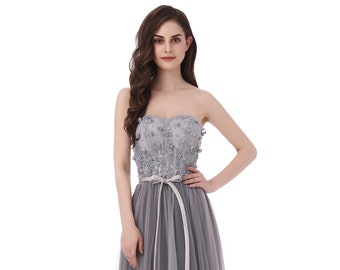 8c7596dd64 Sweetheart Long Prom Dress Grey Formal Dress Lace Tulle Formal Party Dress  Floor Length Cocktail Party Dress with Bow Floral Party Dress