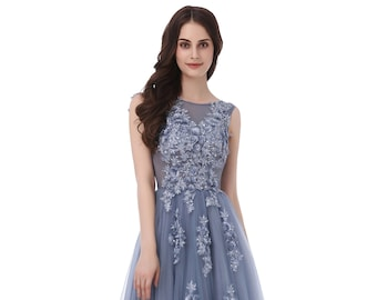 5164b5d69052 Floral Prom Dress, Lace Tulle Prom Dress Grey Evening Dress Lace Bridesmaid  Dress 2019 Formal Party Dress Cocktail Party Dress Gown