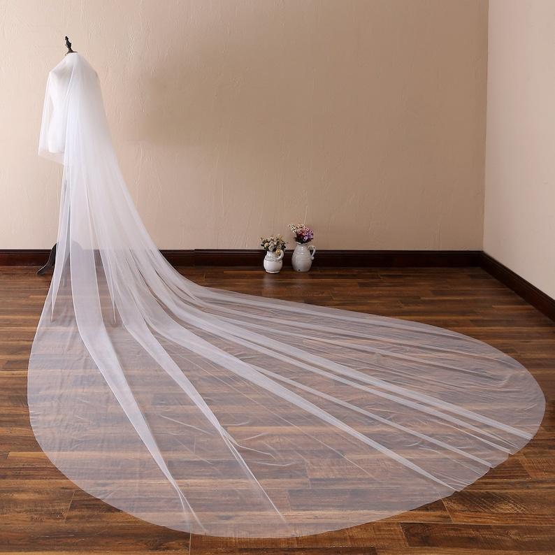 13 ft 2 tier Super Long Veil with comb Simple Soft Tulle Wedding Veil,Plain Edge Bridal Veil,Cathedral Veil,Chapel Bridal Veil,Classic Veil