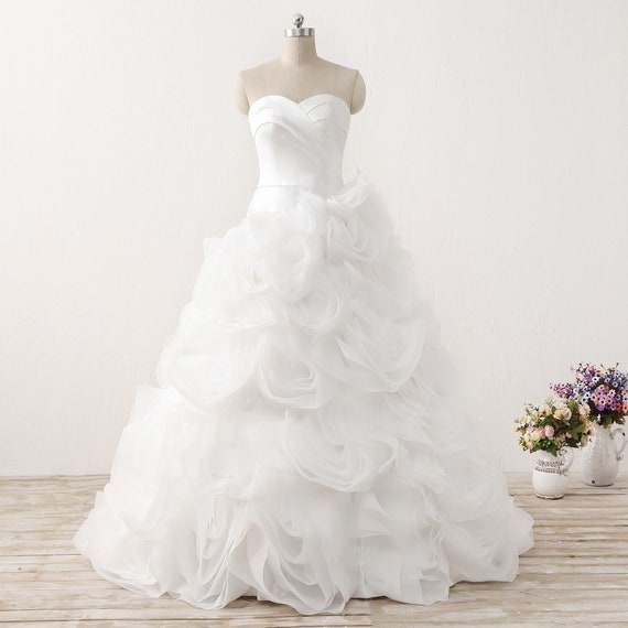 Organza Ruffle Wedding Dresswhite Satin Wedding Etsy
