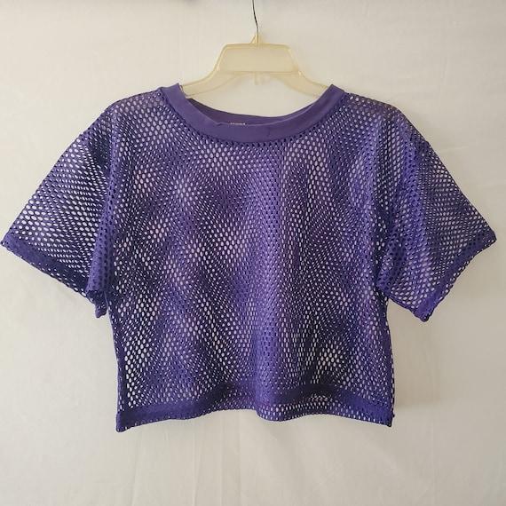 90s Purple Mesh Crop Top, Mesh Athletic Crop Top,… - image 2