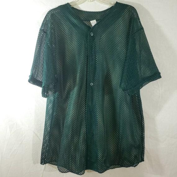 Mesh Jersey Top, Green Mesh Baseball Jersey, 90s … - image 1