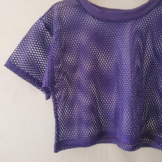 90s Purple Mesh Crop Top, Mesh Athletic Crop Top,… - image 3
