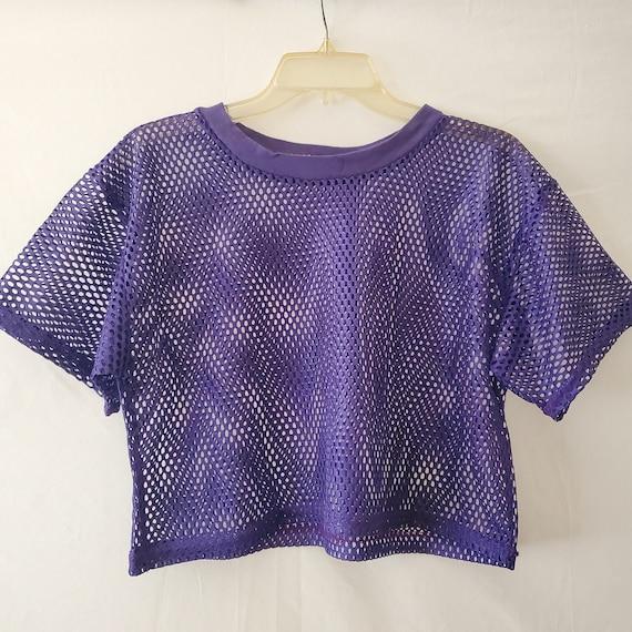 90s Purple Mesh Crop Top, Mesh Athletic Crop Top,… - image 1