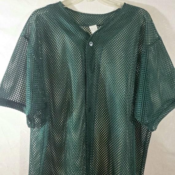 Mesh Jersey Top, Green Mesh Baseball Jersey, 90s … - image 2