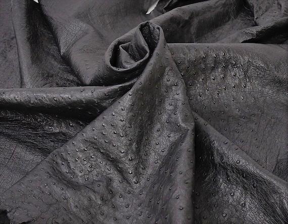 Ostrich Hide Leather Black color /%100 Natural Skin