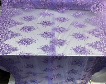 10045 Katelyn ROYAL BLUE Vines and Swirls Corded Embroidery on Mesh Fabric by the Yard