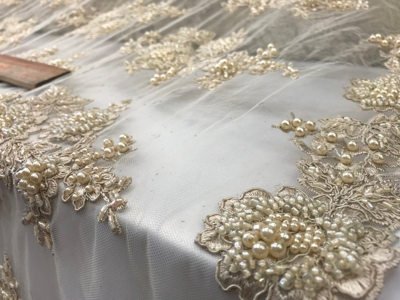 Beaded Mesh LaceChampagneEmbroidered Mesh Flower Lace Fabric By the yardHandmade Mesh LaceTableclothsWedding DressRunnersSkirtsgown