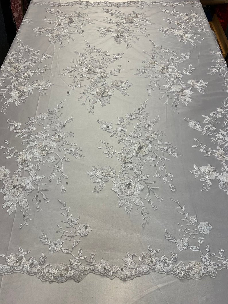 LACITYFABRIC luxuriousWhite3D FloralFlowers Beaded Mesh Lace Handmade Embroidery Fabric By The YardProm DressNight GownsTablecloths